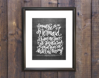 I must be a mermaid quote woodgrain print