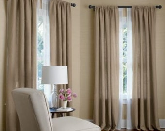 OATMEAL color linen drapes, two lined panels, pair, rod pocket linen curtains