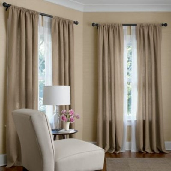 Lined Linen Drapes: OATMEAL Color Linen Drapes Two Lined Panels Pair Rod Pocket