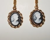 Earrings Cameo Set in Rope Style Black or Blue Gold Tone J Hook Victorian Turn Of Century Style Wearable Art Classy Evening
