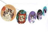 Vintage Paint By Number Kittens Garland, photo reproductions on felt, childs room decor