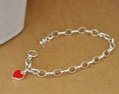 silver charm bracelet, sterling silver charms, red heart, petite heart, gift for her. large chain,