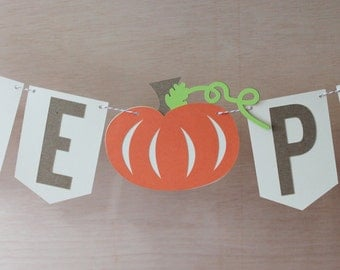 "Little Pumpkin Banner - Pumpkin Baby Shower Sign - Custom Colors - 4"" Pennants - Fall Photo Prop"