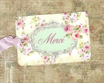 Gift Tags, French Style, Merci, Roses Tag, Thank you