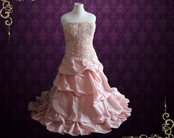 SALE - 50% OFF Plus Size 18W Ready to Ship Pink Wedding Dress Prom Dress Evening Dress