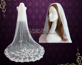 Cathedral Length Lace Wedding Veil with Floral Lace Appliques at the End VG1004