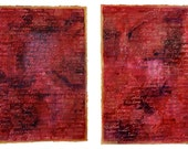 Two Red Name Collages- Large Vertical Wall Art- Abstract- Hidden Names- Handwritten- 15x22- Book Of Life- Gold, Magenta