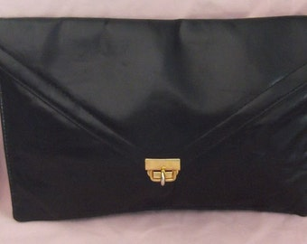 80s Black Envelope Clutch With Wrist Strap and Mirror Free Shipping