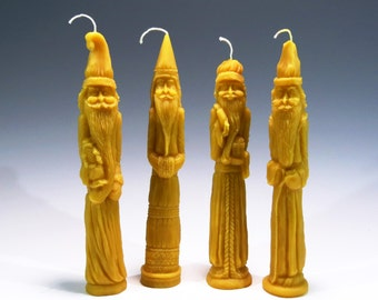Beeswax Pencil Santa Candles Belsnickle Beeswax Candle Primitive Folk Art Christmas Ornament Honey Scented Set of 4