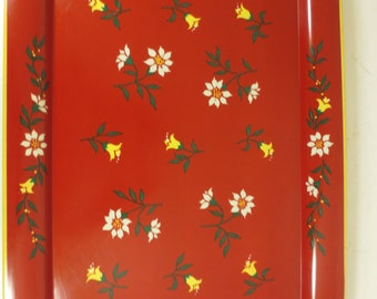 Vintage Red Metal Tray With Tulips and Flowers