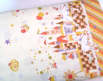 Cotton fabric, Fairtale, Carousel, Pumpkin coach, Lolita, Quilt, Japanese fabric, Pale yellow fabric, 1 yard FB160