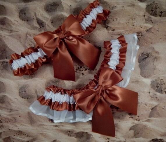 Copper Brown White Organza Wedding Bridal Garter Toss Set
