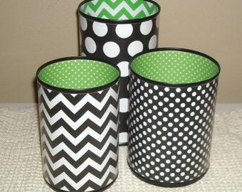Dorm Decor, Fun Desk Accessories, Storage and Organization, Pencil Holder Set, Pencil Cup, Chevron and Polka Dots Desk Accessory Set - 540