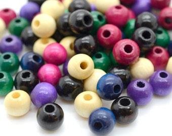 10mm Wood Beads,   140pcs,   Round Macrame Beads,  Wooden  Beads, Purple Mix -B492
