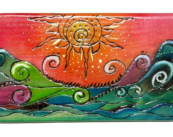 Pyrography wood sign - Sunny Seas
