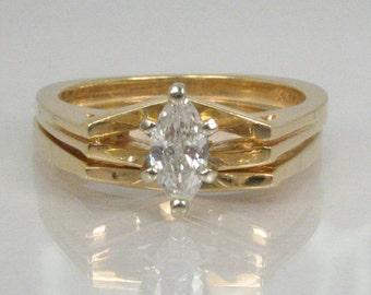 Marquise Diamond Vintage Wedding Ring Set - 0.27 Carat