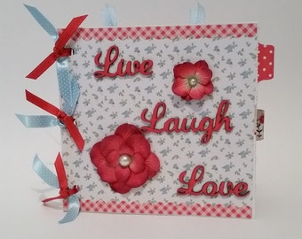 "Paper Bag Photo Album,Brag Book, shabby chic, Live Laugh Love, red, pink, white, floral  (premade pages) 6"" x 6"""