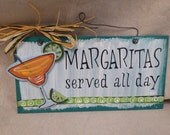 Margaritas Alcohol Bar Wooden sign hand painted Tropical pation