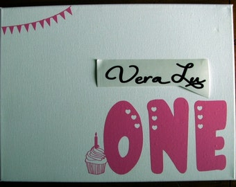First Birthday Vinyl Decals for Personalized birthday canvas gift