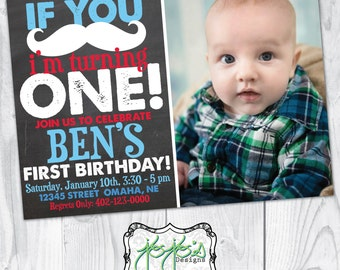 Photo Mustache 1st Birthday Party Invitation; Red, White & Blue (Digital File)
