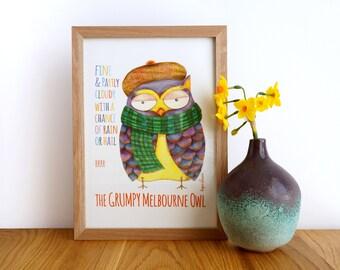 Grumpy Melbourne Owl A4 Giclee Print