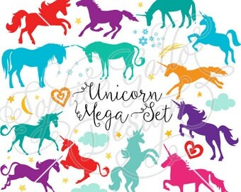 Unicorn Mega Set SVG DXF digital download files for Silhouette Cricut vector clip art graphics Vinyl Cutting Machine, Screen Printing