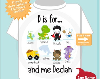 Boy's Personalized D is for Shirt or Onesie Personalized with childs name with everything that starts with D, alphabet learning (05072015f)