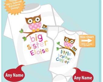 Big Sister Shirt, and Little Brother Owl Onesie or Shirt Set Personalized Owl Tee Shirt or Onesie Set of Two (03222012f)