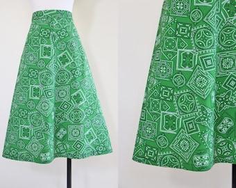 70s Skirt - Vintage 1970s Western Skirt - Green Bandana Novelty Cowgirl Full Cotton Skirt M - Westward, Ho!