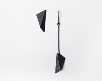 Mismatched Silver Earrings, Geometric Silver Earrings, Black Triangle Earrings, Asymmetric Earrings, Statement Earrings, Industrial Earrings