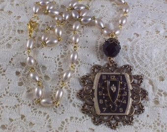 Black Watch Face Pearl Filigree assemblage necklace by ceeceedesigns on etsy