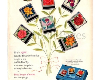 1955 Ohio Blue Tip Matches Vintage Ad, Advertising Art, Retro Ad, Vintage Bookmatches, 1950's Matches, Flowers, Hummingbird.