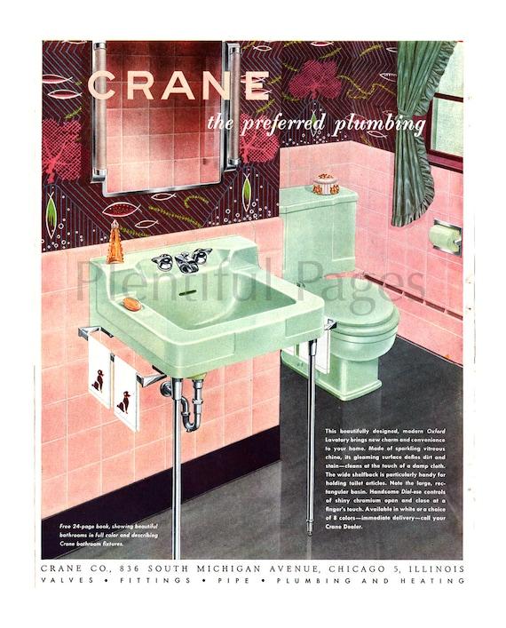 1951 crane plumbing vintage ad 1950 39 s decor retro for Bathroom accessories ads