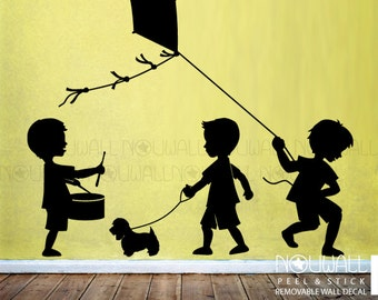 Boys silhouette ,Playing Drum, Playing Kite, Walking a Dog wall decals Children, Kids Wall Decal Wall Sticker
