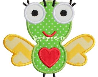 720 Love Bug Machine Embroidery Applique Design