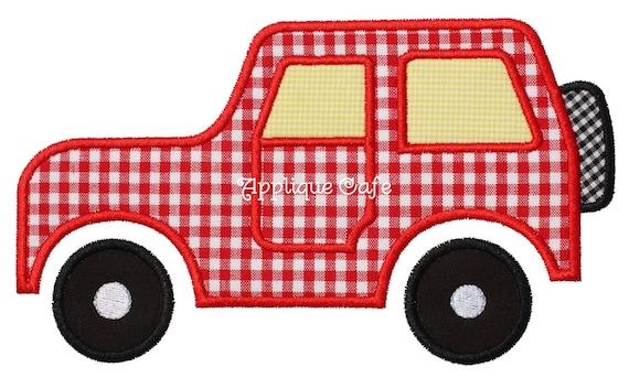 Jeep machine embroidery applique design