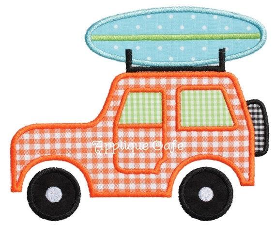 Beach jeep machine embroidery applique design