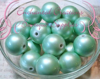 20mm Shimmery Mint Green Acrylic Beads Qty 10, Stardust Coated, Bubblegum Beads, Gumball Bead, Chunky Bead, Sparkly Bead, Large Glitter Bead