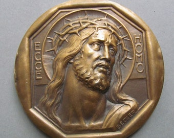 Antique Jesus Ecce Homo Shroud Of Turin French Religious Art Medal Signed Becker
