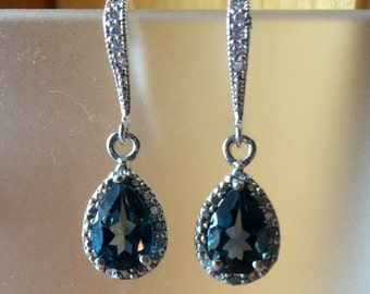London Blue 3 ct. Topaz and Diamond drop sterling silver earrings