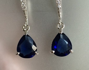 Sapphire Blue pear Cut Academies Pave Earrings in Silver