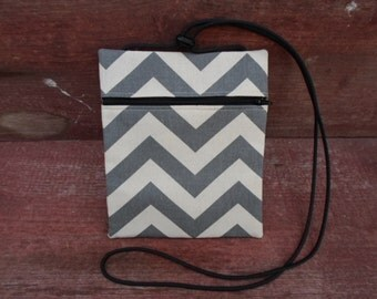 Gray Chevron Cross Body Pouch
