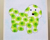 Coton de Tulear Art Block- Bichon Frise Art Block- Rustic Finish- Watercolor Flower Dog- Home Decor- Nursery Decor- Dog Wall Art- Milk Paint