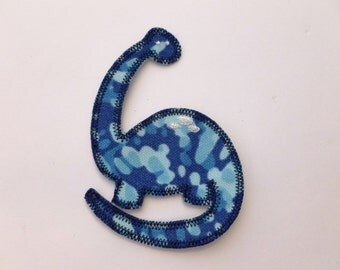Small Dino Dinosaur Applique Patch Blue Heavy Fabric - Embroidered Patch or Embellishmentm - Dino Patch, Dinosaur Applique, Iron On, Boy Bib