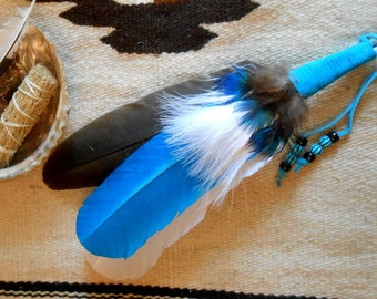 Black White Turquoise  Smudge Fan With Beads Handmade Native Inspired