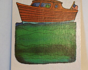 Vintage Flash Card BOAT Green Bug Nursery Art Decor Paper Ephemera Bright Colors 1977 Milton Bradley