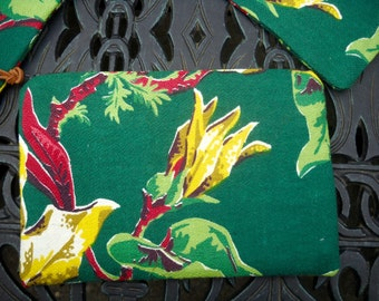 Vintage Barkcloth Zippered Bag, Tropical Barkcloth, Travel Bag,  Little Pouch for your Big Bag, Two Available, Many Uses