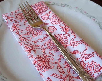 12 inch Everyday Dinner Napkins in Red and White Floral - set of 4