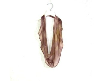 Brown Silk Scarf Infinity Scarf Gift for Her Sari Scarf Spring Scarf Summer Scarf Womens Scarf Lightweight Scarf Eco Fashion Upcycled Scarf