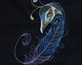 BIRDS OF A FEATHER #5 -Machine Embroidered Quilt Block AzEB
